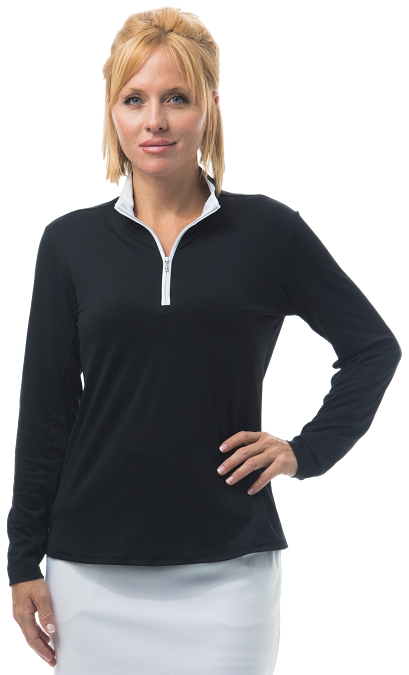 900322 SanSoleil SolShine Long Sleeve Mock. Black